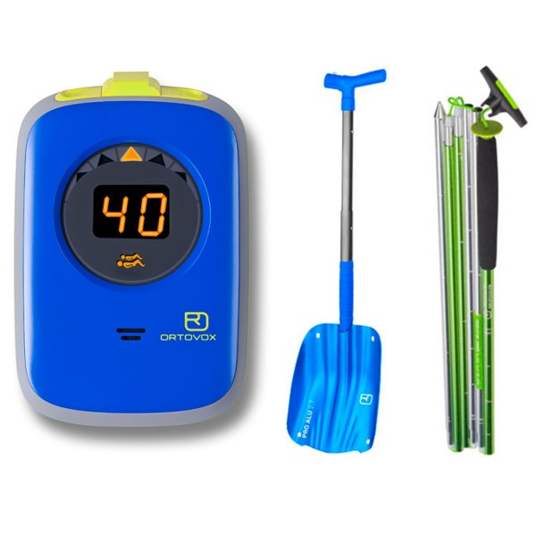 Avalanche transceiver, shovel and probe