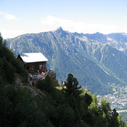 A mountain hut overlooking the Chamonix valley hiking trails