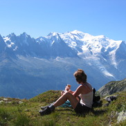 Enjoying a picnic in the Chamonix mountains with a view of the glaciers