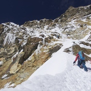 Reaching the top of the couloir