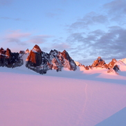Mountains at sunset on the Haute Route hiking tour Chamonix to Zermatt
